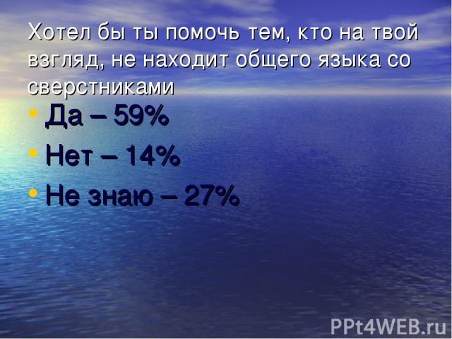 Хотел бы ты помочь тем, кто на твой взгляд, не находит общего языка со сверстниками Да – 59% Нет – 14% Не знаю – 27%