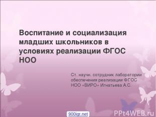 Воспитание и социализация младших школьников в условиях реализации ФГОС НОО Ст.