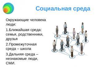 Социальная среда Окружающие человека люди: Ближайшая среда: семья, родственники,