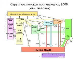 Структура потоков поступающих, 2008 (млн. человек) * 0,49
