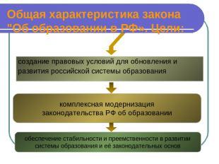 """Общая характеристика закона """"Об образовании в РФ». Цели: создание правовых услов"""