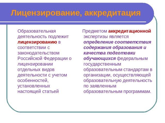 Лицензирование, аккредитация Образовательная деятельность подлежит лицензированию в соответствии с законодательством Российской Федерации о лицензировании отдельных видов деятельности с учетом особенностей, установленных настоящей статьей Предметом …