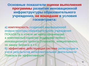 Основные показатели оценки выполнения программы развития инновационной инфрастру