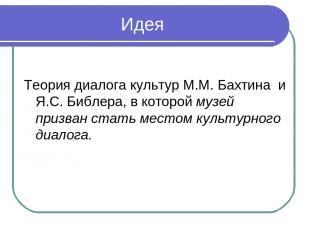 Идея Теория диалога культур М.М. Бахтина и Я.С. Библера, в которой музей призва