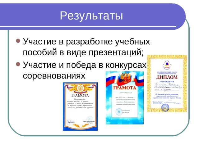 Результаты Участие в разработке учебных пособий в виде презентаций; Участие и победа в конкурсах соревнованиях