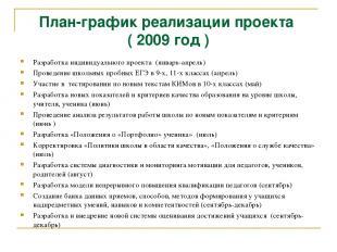 План-график реализации проекта ( 2009 год ) Разработка индивидуального проекта (