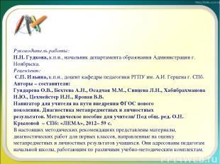 Руководитель работы: Н.Н. Гудкова,к.п.н.,начальник департамента образования Ад
