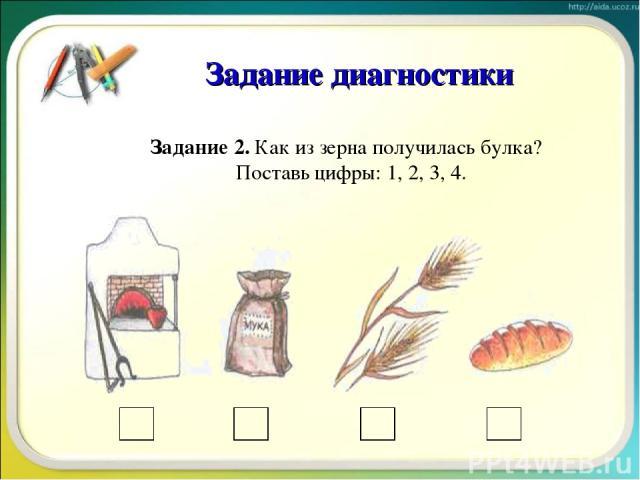 Задание 2. Как из зерна получилась булка? Поставь цифры: 1, 2, 3, 4. Задание диагностики