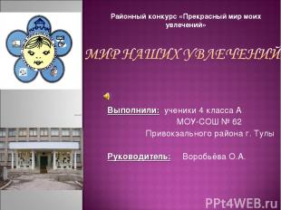 Выполнили: ученики 4 класса А МОУ-СОШ № 62 Привокзального района г. Тулы Руковод
