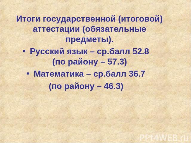 Итоги государственной (итоговой) аттестации (обязательные предметы). Русский язык – ср.балл 52.8 (по району – 57.3) Математика – ср.балл 36.7 (по району – 46.3)