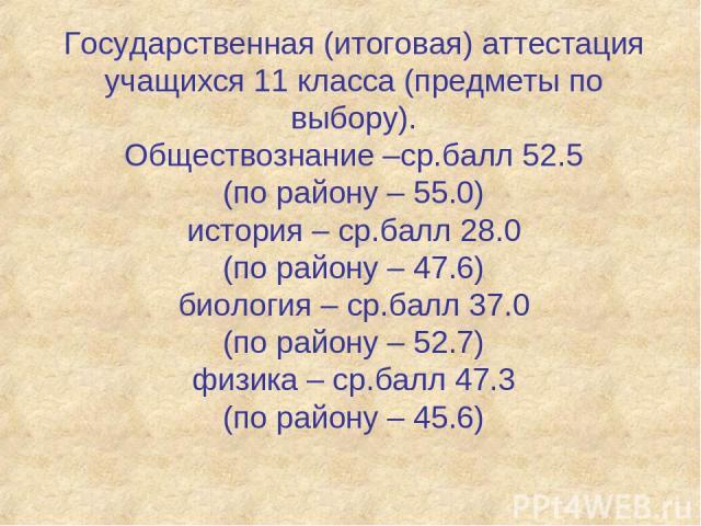 Государственная (итоговая) аттестация учащихся 11 класса (предметы по выбору). Обществознание –ср.балл 52.5 (по району – 55.0) история – ср.балл 28.0 (по району – 47.6) биология – ср.балл 37.0 (по району – 52.7) физика – ср.балл 47.3 (по району – 45.6)