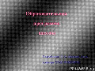Образовательная программа школы Разработчик: Г.А. Давыдов, к.п.н., кафедра УРОС