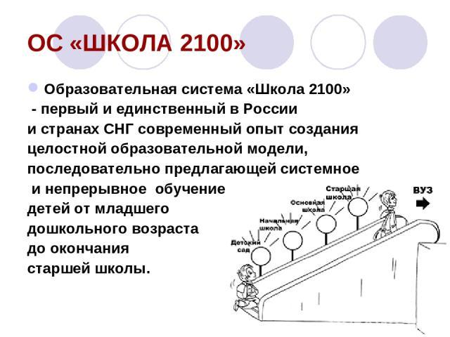 ОС «ШКОЛА 2100» Образовательная система «Школа 2100» - первый и единственный в России и странах СНГ современный опыт создания целостной образовательной модели, последовательно предлагающей системное и непрерывное обучение детей от младшего дошкольно…