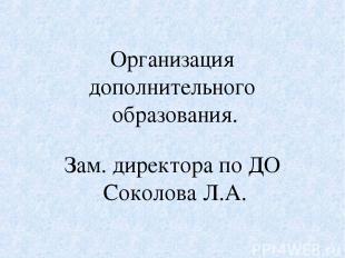 Организация дополнительного образования. Зам. директора по ДО Соколова Л.А.
