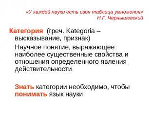 «У каждой науки есть своя таблица умножения» Н.Г. Чернышевский Категория (греч.