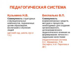 ПЕДАГОГИЧЕСКАЯ СИСТЕМА Кузьмина Н.В. Совокупность структурных и функциональных к