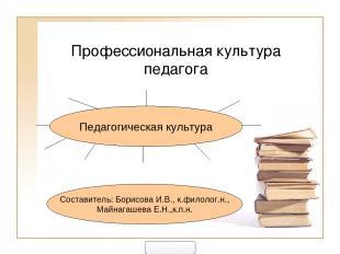 Профессиональная культура педагога Педагогическая культура Составитель: Борисова