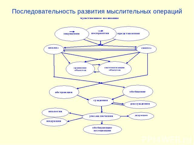 Последовательность развития мыслительных операций
