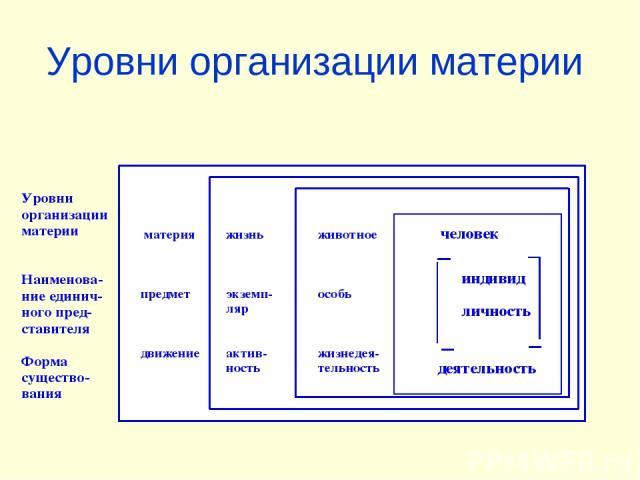 Уровни организации материи