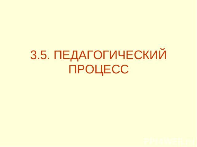3.5. ПЕДАГОГИЧЕСКИЙ ПРОЦЕСС