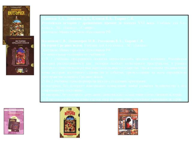 Учебно-методический комплект Данилов А.А., ДаниловД.Д., КлоковВ.А., ТыринС.В. Российская история с древнейших времен до начала XVI века. Учебник для 6-го класса. - М.: «Баласс», «С-инфо». Допущено Министерством образования РФ. КолпаковС.В., Поно…