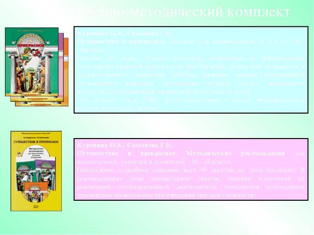Куревина О.А., СелезневаГ.Е. Путешествие в прекрасное. Методические рекомендации для воспитателей, учителей и родителей. - М.: «Баласс» Предложено подробное описание всех 96 занятий по трем пособиям. В рекомендациях даны литературные тексты, описан…
