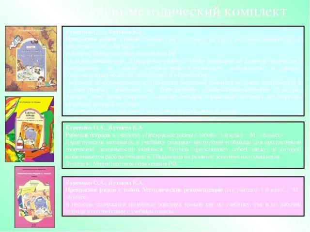 Куревина О.А., ЛутцеваЕ.А. Прекрасное рядом с тобой. Методические рекомендации для учителя. 1-й класс. - М.: «Баласс» В пособии содержатся сценарные описания уроков как по учебнику, так и по рабочей тетради в соответствии с учебным планом. Учебно-м…