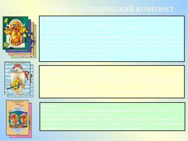 Кислова Т.Р. По дороге к Азбуке. Методические рекомендации для воспитателей, учителей и родителей к частям 1 и 2, 3 и 4. М.: «Баласс» Методические пособия включают программу дошкольного курса развития речи и подготовки к обучению грамоте (авт. Р.Н.…