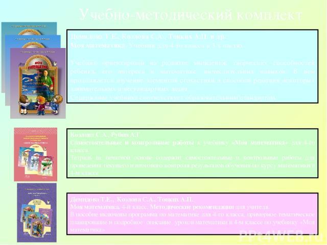 Демидова Т.Е., Козлова С.А., Тонких А.П. Моя математика. 4-й класс. Методические рекомендации для учителя. В пособие включены программа по математике для 4-го класса, примерное тематическое планирование и подробное описание уроков математики в 4-м к…