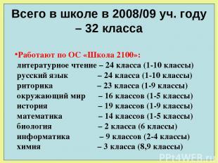 Всего в школе в 2008/09 уч. году – 32 класса Работают по ОС «Школа 2100»: литера