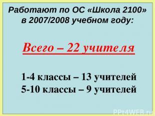Работают по ОС «Школа 2100» в 2007/2008 учебном году: Всего – 22 учителя 1-4 кла