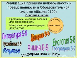 Реализация принципа непрерывности и преемственности в Образовательной системе «Ш