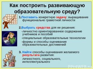 1.Поставить конкретную задачу: выращивание функционально грамотной личности 2.Вы