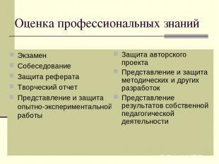 Оценка профессиональных знаний Экзамен Собеседование Защита реферата Творческий