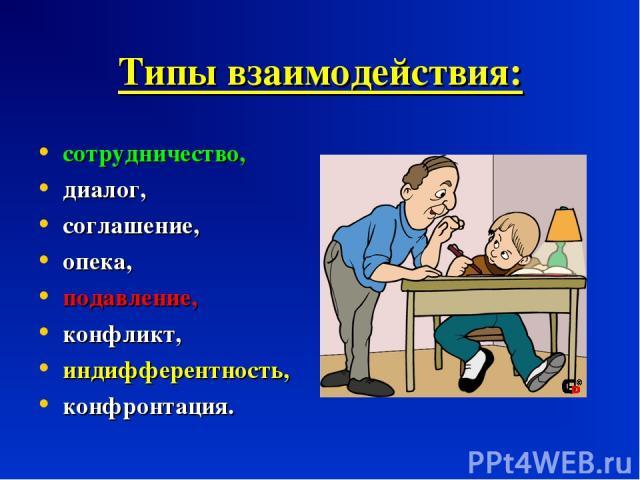 Типы взаимодействия: сотрудничество, диалог, соглашение, опека, подавление, конфликт, индифферентность, конфронтация.