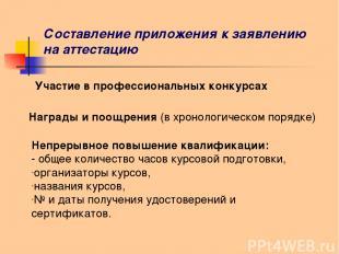 Составление приложения к заявлению на аттестацию Участие в профессиональных конк