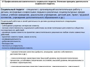 27.Профессиональная компетентность социального педагога. Этические принципы деят