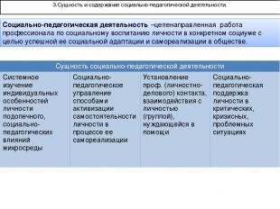 3.Сущность и содержание социально-педагогической деятельности. Социально-педагог
