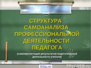 СТРУКТУРА САМОАНАЛИЗА ПРОФЕССИОНАЛЬНОЙ ДЕЯТЕЛЬНОСТИ ПЕДАГОГА (самопрезентация ре