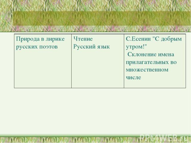 Природа в лирике русских поэтов Чтение Русский язык С.Есенин
