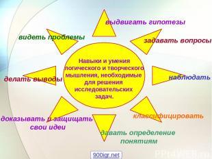 Навыки и умения логического и творческого мышления, необходимые для решения иссл
