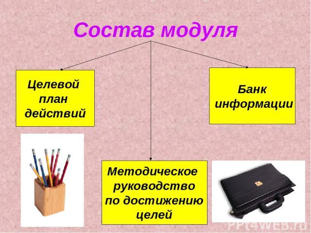 Состав модуля Целевой план действий Методическое руководство по достижению целей Банк информации