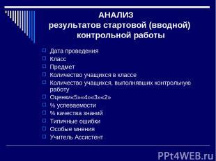 АНАЛИЗ результатов стартовой (вводной) контрольной работы Дата проведения Класс