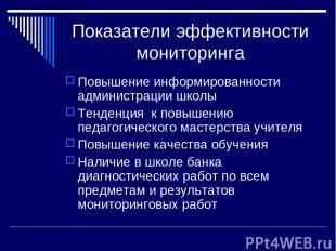 Показатели эффективности мониторинга Повышение информированности администрации ш
