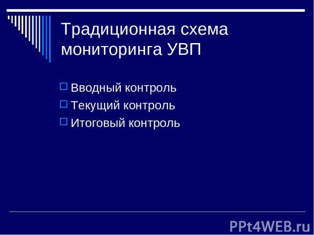 Традиционная схема мониторинга УВП Вводный контроль Текущий контроль Итоговый контроль