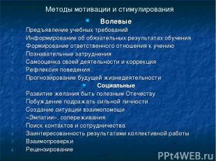 Методы мотивации и стимулирования Волевые Предъявление учебных требований Информ