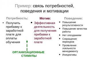 Пример: связь потребностей, поведения и мотивации Потребность: Получить прибавку