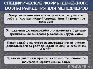 СПЕЦИФИЧЕСКИЕ ФОРМЫ ДЕНЕЖНОГО ВОЗНАГРАЖДЕНИЯ ДЛЯ МЕНЕДЖЕРОВ Бонус наличностью ил