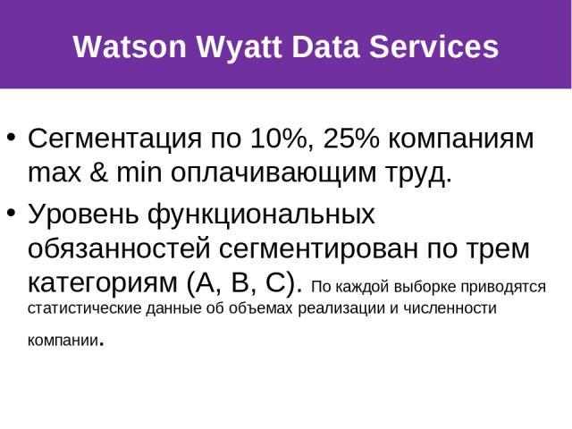 Сегментация по 10%, 25% компаниям max & min оплачивающим труд. Уровень функциональных обязанностей сегментирован по трем категориям (A, B, C). По каждой выборке приводятся статистические данные об объемах реализации и численности компании. Watson Wy…