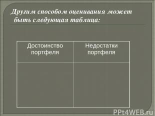 Другим способом оценивания может быть следующая таблица:  Достоинство порт